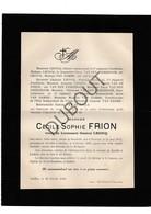 Doodsbrief Cécile-Sophie Frion °1812 Doornik †1895 Ixelles/Elsene Echtg. Lieutenant Général Lecocq (H17) - Décès
