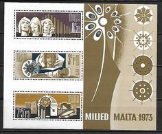 MALTE    -   Bloc-Feuillet.   1973.   Y&T N° 3 **.   Noël. - Malta