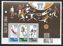 MALTE    -   Bloc-Feuillet.   1978.   Y&T N° 5 **.   Coupe Du Monde De FOOTBALL - Malte