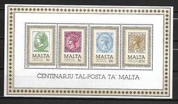 MALTE    -   Bloc-Feuillet.   1985.   Y&T N° 8 **.   Centenaire Du Timbre Maltais - Malta