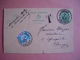 Carpe Postale Envoyée De Knokke Vers Brugge En 1928 Et Taxe Brugge . Knokke: Golf - Tennis. Voiur Scans - Knokke