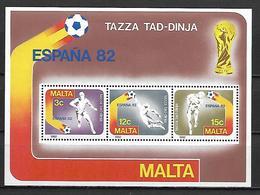 MALTE    -   Bloc-Feuillet.   1982.   Y&T N° 7 **.   Coupe Du Monde De FOOTBALL  Espana 82 - Malta