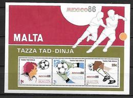 MALTE    -   Bloc-Feuillet.   1986.   Y&T N° 9 **.   Coupe Du Monde De FOOTBALL  Mexico - Malta