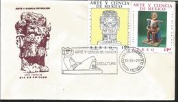 J) 1976 MEXICO, ART AND SCIENCE OF MEXICO, COATLICUE, ORTIZ MONASTERIO, MULTIPLE STAMPS, FDC - Mexique