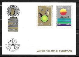MALTE    -   Carte Postale **.   1986.   EUROPA.   Expo Philatélique Internationale. Papillon  /  Soleil. - Malte