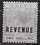 MALTE    -   Timbre   FISCAL  Oblitéré .  1 Shilling - Malta