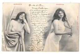 CPA. FEMMES.... ARTISTIQUE... BERGERET....BONJOUR ..BONSOIR...  1904..SCAN - Femmes