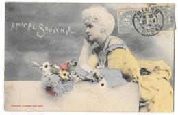 CPA. FEMMES.... ARTISTIQUE.....BERGERET....AMICAL SOUVENIR....1903..COLORES....1906....TBE...SCAN - Femmes