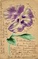 FLOR VIOLETA REALIZADA EN GOFRADO Y SEDA / VIOLET FLOWER MADE IN SILK - POSTAL POSTCARD WRITTEN 1909 -LILHU - Bloemen