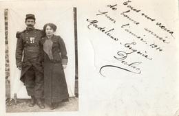 """VILLIERS-SUR-MARNE """"BONNE ANNEE 1914 """" VOEUX D'UN SOLDAT (CARTE PHOTO ) - Villiers Sur Marne"""