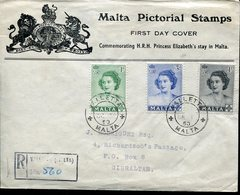 40716 Malta, Circuled Registere Cover (fdc ?) 1960 To Gibraltar, The Queen Elizabeth - Malte