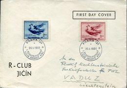 40721 Ceskoslovensko, Fdc Circuled 1951  2 Stamps Picasso Dove, - Picasso