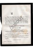 Doodsbrief Hubert Joseph Dolez °1808 Bergen/Mons †1880 Brussel / Burgemeester Ukkel / Echtg. Rosalie Legrand (H21) - Décès