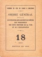 Chemin De Fer De Paris à Orléans-1933-Ordre Général N°18-concours Que Doivent Se Preter Les Services - Chemin De Fer & Tramway