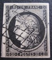 R1606/130 - CERES N°3 - LUXE - GRILLE NOIRE - Voisin à Gauche - Cote : 65,00 € - 1849-1850 Cérès
