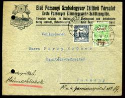 POZSONY 1914. Első Pozsonyi Szobafegyver Céllővő Társulat, Régi Céges Levél ( Regiszterlyuk) - Oblitérés