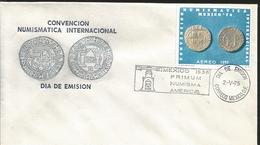 J) 1975 MEXICO, INTERNATIONAL NUMISMATIC CONVENTION MEXICO, COINS, FDC - Mexique