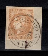 Bordeaux - YV 43A Luxe Oblitere CaD MARSEILLE Cours Du Chapitre Sur Fragment Cote 90+ Euros - 1870 Bordeaux Printing