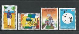COTE IVOIRE Scott 830, 845, 846, B17 Yvert 788, 797, 798, 792 (4) ** Cote 7,00 $ 1987 - Côte D'Ivoire (1960-...)