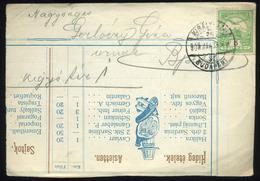 1909. Étlap Darab, Levelező Lapként Felhasználva! Királyháza-Budapest Mozgóposta Bélyegzéssel Budapestre - Hungary