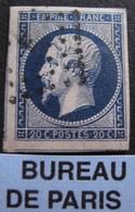 "R1606/134 - NAPOLEON III N°14Ab Bleu Noir - BUREAU "" F "" De PARIS - 3 VOISINS - 1853-1860 Napoleon III"
