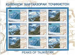 Tajikistan.1997 Peaks Of Tajikistan. Sheetlet Of 3 Differ Strips. Michel # 109-11 KB - Tadjikistan