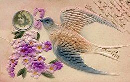 PALOMA CON FLORES VIOLETA Y NIÑA / PIGEON WITH VIOLET FLOWERS AND A GIRL - GOFRADO POSTAL POSTCARD WRITTEN 1912 -LILHU - Bloemen