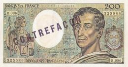 200 F Montesquieu  ( Tamponné Contrefaçon ) - Fautés