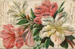 FLORES BLANCAS Y ROSAS / WHITE AND PINK FLOWERS - GOFRADO Y GLITTER POSTAL POSTCARD CIRCULATED 1905 -LILHU - Bloemen