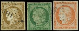 EMISSION DE 1849 -  1a, 2 Et 5, Oblitérés PC Ou GRILLE, Restaurés Ou Défx, B/TB. J Cote : 2100 - 1849-1850 Cérès