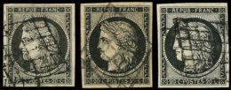 EMISSION DE 1849 -  3    20c. Noir Sur Jaune (2) Et 3a 20c. Noir Sur Blanc, Obl. GRILLE, TB Cote : 200 - 1849-1850 Cérès