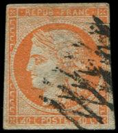 EMISSION DE 1849 -  5d   40c. Orange, 4 RETOUCHE, Case 146, Obl., Aminci Mais Bonne Pièce D'attente, Certif. Calves Cote - 1849-1850 Cérès