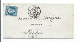 N° YT 22 Sur Lettre De Paris Pour Loches  1865 - Postmark Collection (Covers)