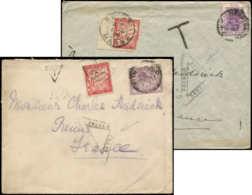 TAXE - Let. 33  30c. Rouge Carminé (déf. S. 1 Ex.) Obl. S. 2 Env. Affr. Grande-Bretagne Et Etat D'Orange, Censures Trian - 1859-1955 Covers & Documents