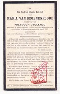 DP Maria Van Groenenroode ° Brugge 1865 † Roeselare 1925 X P. DeClercq - Devotieprenten
