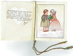 Carte Double, Peinte à La Main. Illustrateur D'Haenens, Merkplas, 1-1-1948. Enfants Et Houx. - Nouvel An