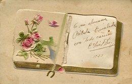 LIBRO CON ROSAS EN RELIEVE / BOOK WITH ROSES - GOFRADO POSTAL POSTCARD WRITTEN 1923 -LILHU - Bloemen