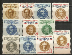 Champions De La Liberté: Bolivar,Garibaldi,Mannerheim,San Martin,etc  11 Timbres Neufs ** - Etats-Unis