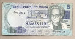 Malta - Banconota Circolata Da 5 Lire P-38 - 1986 - Malta