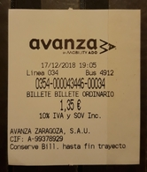 ESPAÑA - ZARAGOZA. BUS - AUTOBÚS. TICKET DE 1 DÍA - Bus