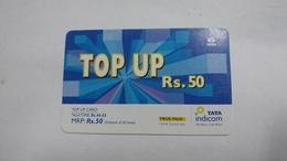 India-top Up-tata Indicom Card-(38g)-(rs.50)-(new Delhi)-(talk Time)-used Card+1 Card Prepiad Free - India
