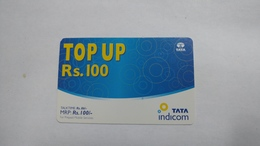 India-top Up-tata Indicom Card-(38h)-(rs.100)-(new Delhi)-(sample)-used Card+1 Card Prepiad Free - India