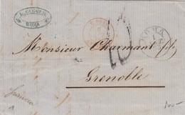 LETTRE ITALIE-L.GUGGER ROMA 1.9.1858 POUR GRENOBLE  -TAXE PLUME 10 - ENTREE ROUGE E.PONT. ANTIBES / 6174 - 1801-1848: Précurseurs XIX
