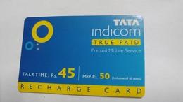 India-top Up-tata Indicom Card-(38i)-(rs.45)-(new Delhi)-(2/2008)-used Card+1 Card Prepiad Free - India