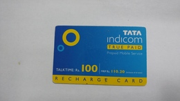 India-top Up-tata Indicom Card-(38k)-(rs.100)-(new Delhi)-(15 Day Afther)-used Card+1 Card Prepiad Free - India