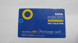 India-top Up-tata Indicom Card-(38l)-(rs.45)-(new Delhi)-(6/2008)-used Card+1 Card Prepiad Free - India