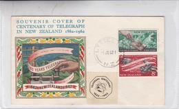 SOUVENIR COVER OF CENTENARY OF TELEGRAPH IN NEW ZELAND, SPECIAL COVER 1962; 2 COLOR STAMPS- BLEUP - Nouvelle-Zélande