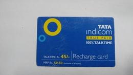 India-top Up-tata Indicom Card-(38m)-(rs.45)-(new Delhi)-(8/2008)-used Card+1 Card Prepiad Free - India
