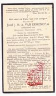 DP Dokter Jozef J.M.A. Van Ermengem ° Werchter 1892 † Antwerpen 1932 X Madeleine Aps - Devotieprenten
