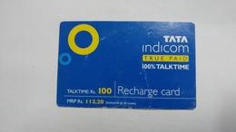 India-top Up-tata Indicom Card-(38o)-(rs.100)-(new Delhi)-(8/2008)-used Card+1 Card Prepiad Free - India